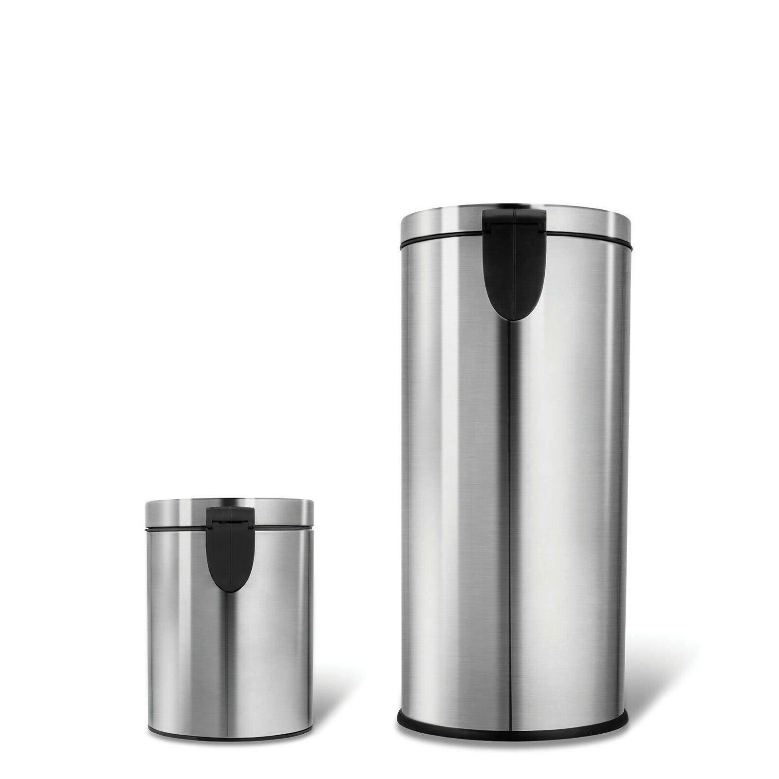 Silver 30L+5L Step Bin Garbage Waste Kitchen Bag