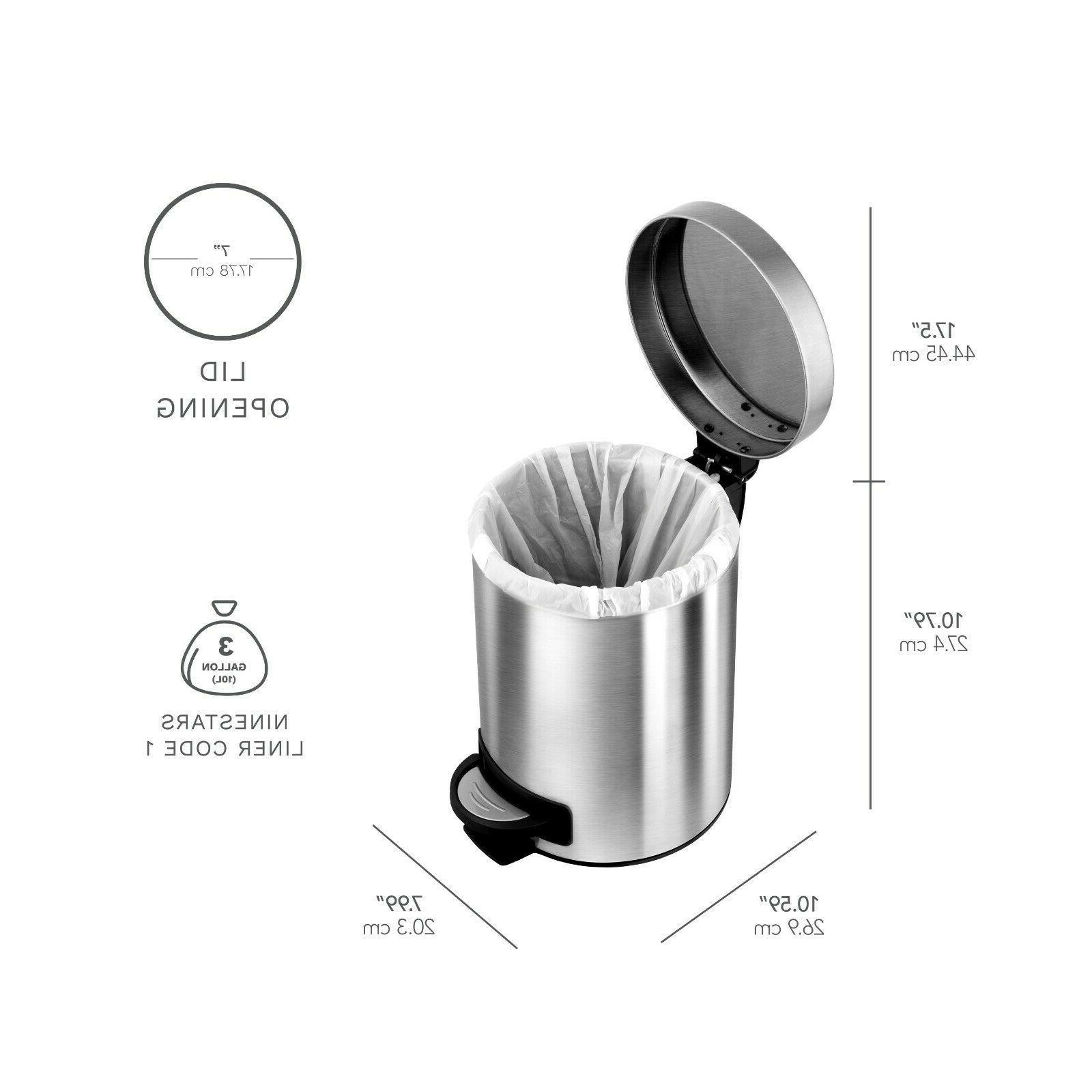 Silver 30L+5L Steel Step On Trash Bin Garbage Bag