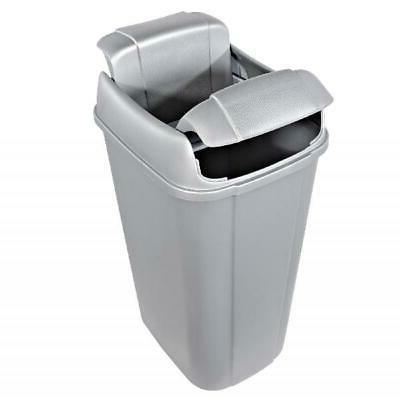 silver trash can w pivot lid 13