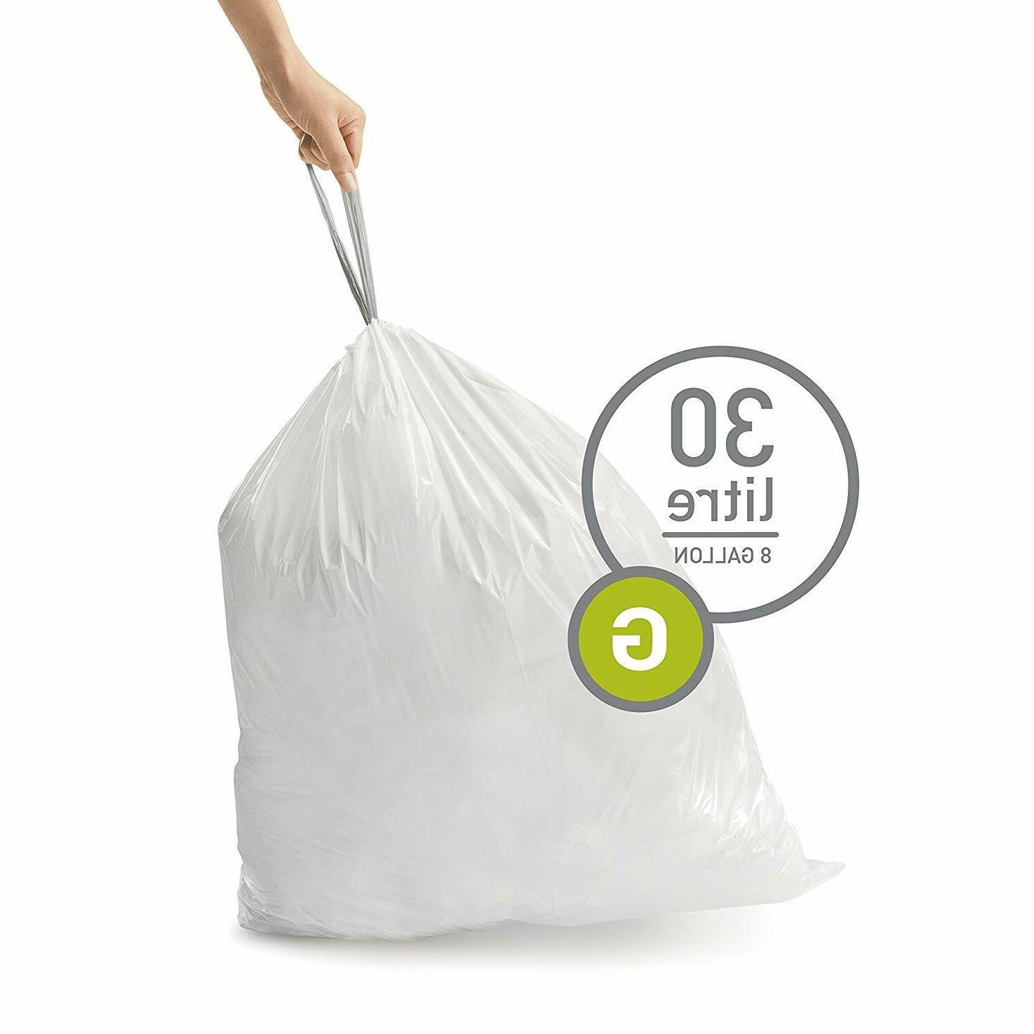 Simple Drawstring Trash Bags 100pk 8 Garbage Code G
