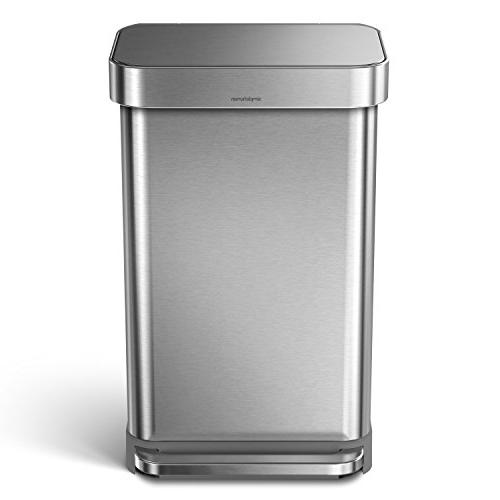 simplehuman 45 12 Gallon Rectangular Kitchen Can Brushed Steel