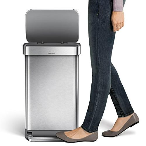 simplehuman 12 Gallon Stainless Steel Can with Brushed Stainless