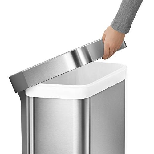 simplehuman 45 12 Gallon Stainless Rectangular Can Brushed
