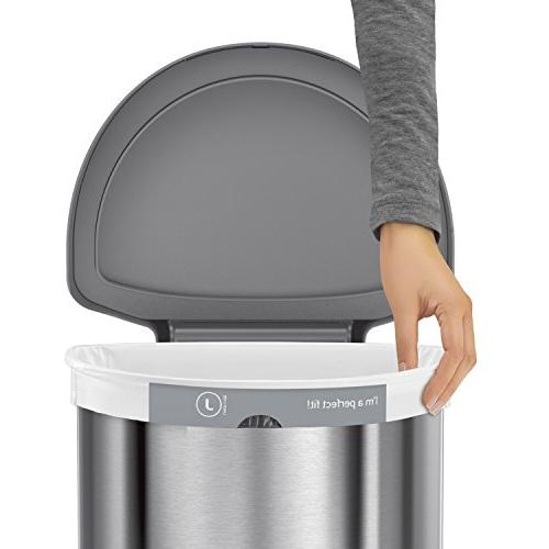 simplehuman 12 Semi-Round Sensor Can, Automatic Trash with Plastic Steel