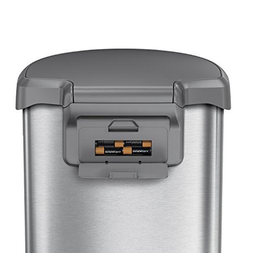 simplehuman 45 Liter 12 Gallon Stainless Steel Semi-Round Automatic Trash Can, with Plastic Lid, Stainless Steel