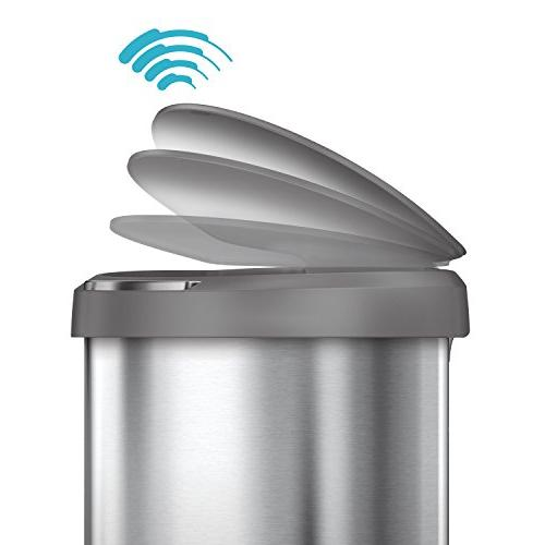 12 Stainless Steel Semi-Round Sensor Can, Touchless Automatic Trash Can, with Plastic Steel