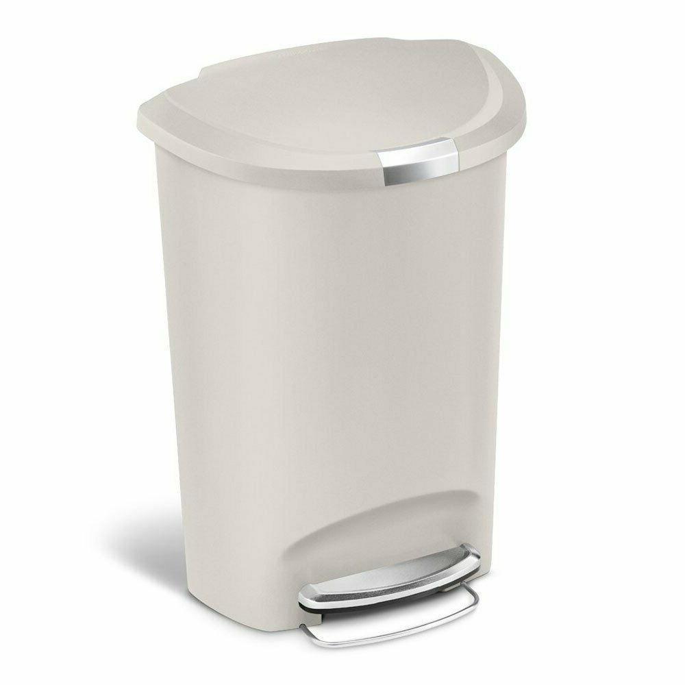 simplehuman Semi-Round Trash Can, Plastic, L 13