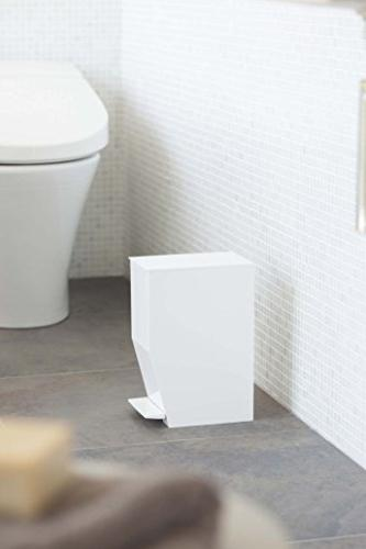 Small Sleek Sanitary Trash Can with Bin Receptacle for Toilet,