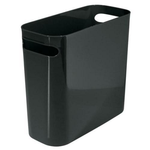 slim plastic rectangular small trash can wastebasket