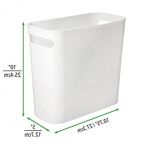 mDesign Plastic Small Trash Can Wastebasket, Garbage Handles Bathroom, Kitchen, Home Room - High, Shatter-Resistant - 4 - White