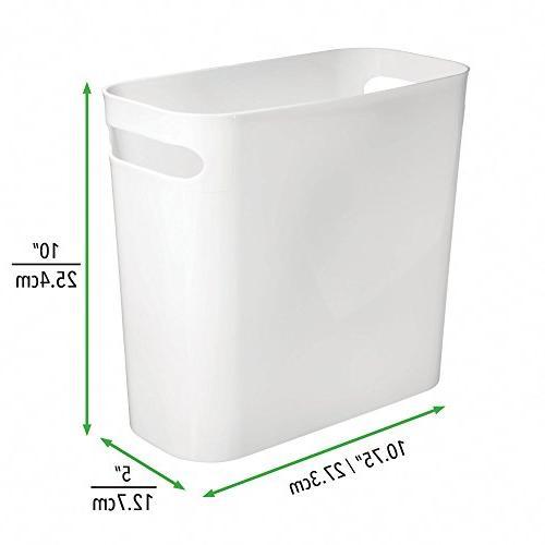mDesign Plastic Small Trash Can Wastebasket, Garbage Handles Bathroom, Kitchen, Home Room - High, Shatter-Resistant - 4 - White