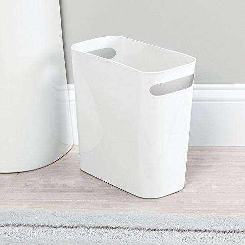 "mDesign Small Garbage Handles Bathroom, Home Room - 10"" High, Shatter-Resistant 4 - White"