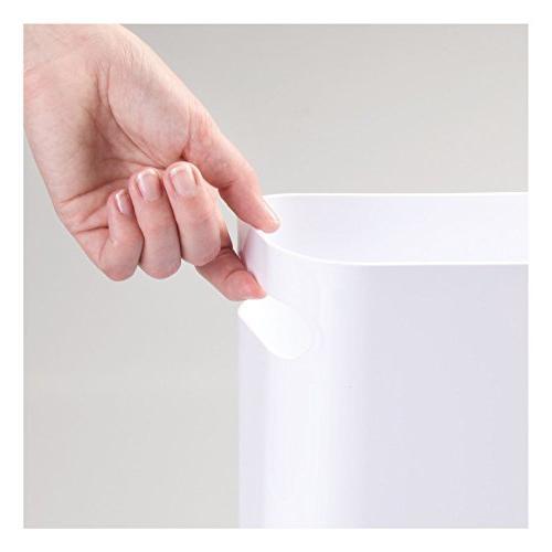 mDesign Small Trash Garbage Bin Handles Room Shatter-Resistant - - White