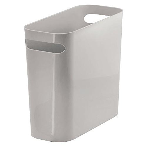 mDesign Slim Plastic Rectangular Small Garbage Container Handles Home Office, Room