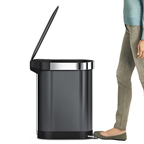 simplehuman Step Trash Can with Liner Rim, Black L