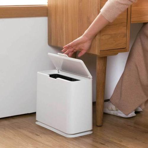 Slim Trash Rubbish Bin Touch Bathroom Toilet Home