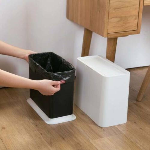 Slim Trash Garbage Rubbish Wastebasket Home