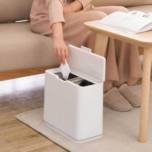 Slim Can Rubbish Wastebasket W Touch Lid Bathroom Toilet Home
