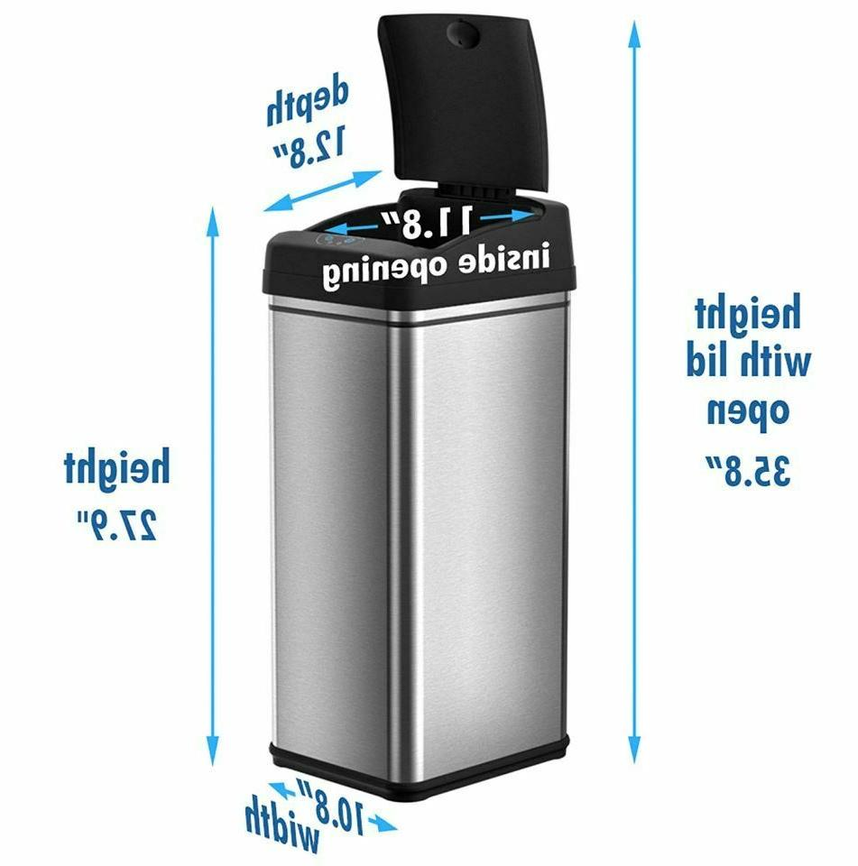 Small Automatic Trash Can Touchless 13g Garbage Bin Stainless