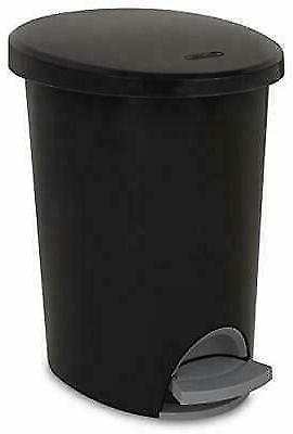 Small Bathroom Trash Can Lid Step-On Black Garbage Waste Off