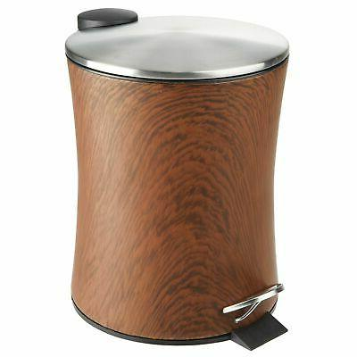 mDesign Small Round Step Bin, Removable Liner