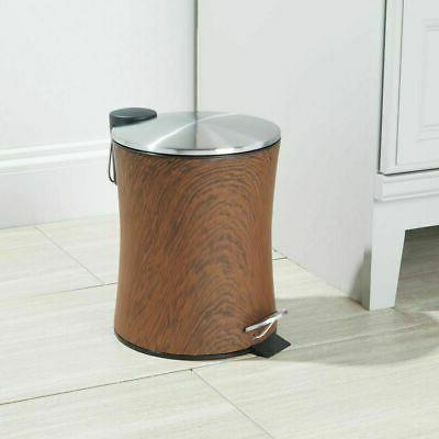 mDesign Small 5L Step Trash Can Bin, Removable Liner