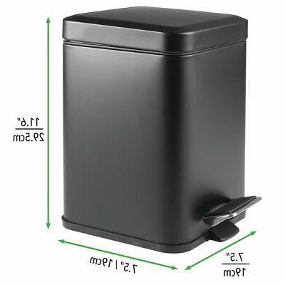 mDesign Square Trash Can Bin, Removable Liner, 6L
