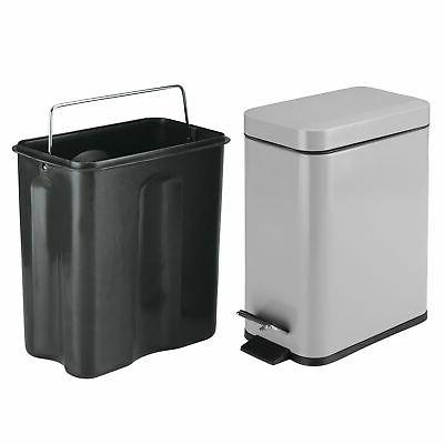 mDesign Small Step Trash Can, Garbage Liner Bucket