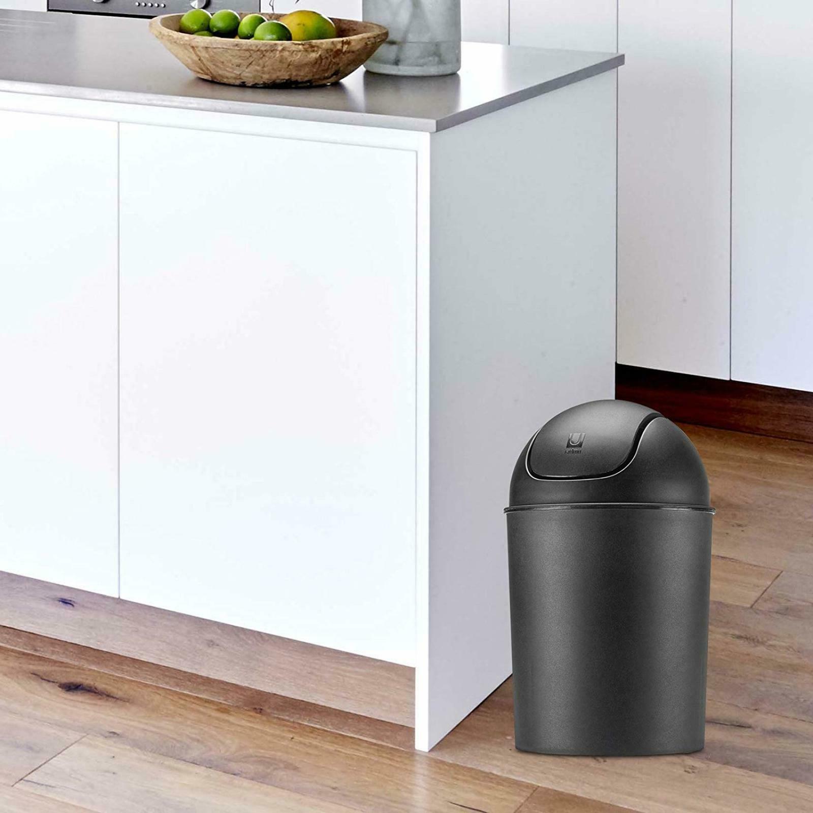 Small Trash Can Plastic Swing Lid Waste Basket 1.5 gallon