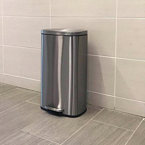 iTouchless SoftStep Stainless Can, Kitchen Trash Can for Office, Kitchen