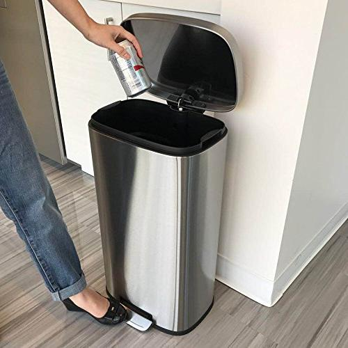 iTouchless Stainless Steel Step Can, 30 Kitchen Trash Can Kitchen