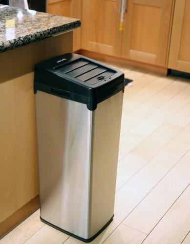 iTouchless 14 Touchless Trash Can Stainless Steel, 1