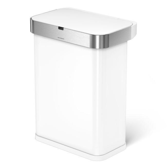 15.3 Gallon 58L Stainless Steel Rectangular Sensor Trash Can with Voice Sensor, Voice White Steel