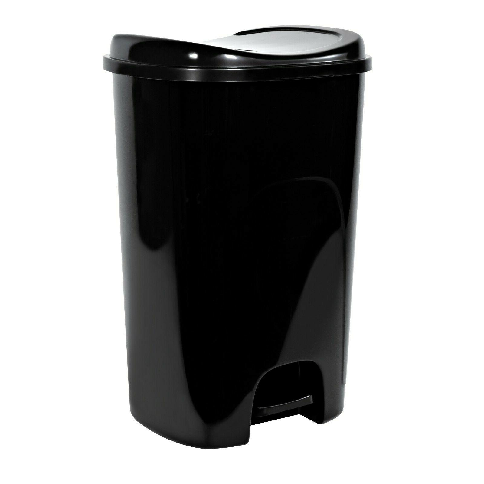 Step-On 13-Gallon Plastic Trash Can Hands Free Home Kitchen