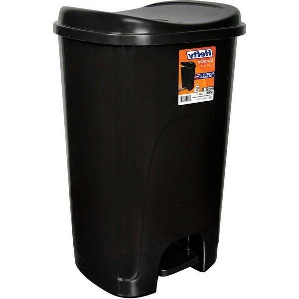 Hefty Step-On 13-Gallon Trash Can Home Kitchen Garbage Bin P