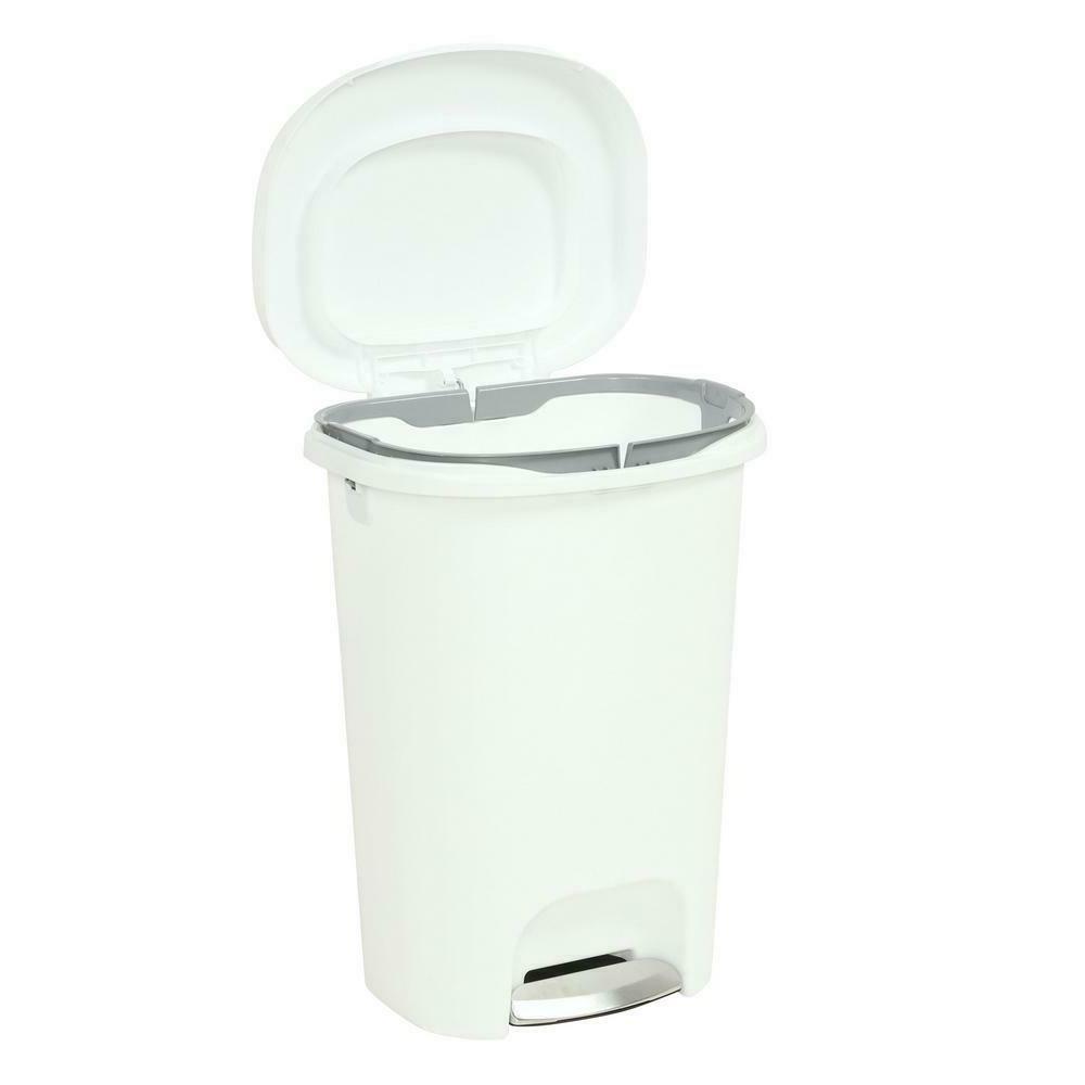 Step on Trash 13 Rubbermaid Garbage Bin Basket Kitchen Home White