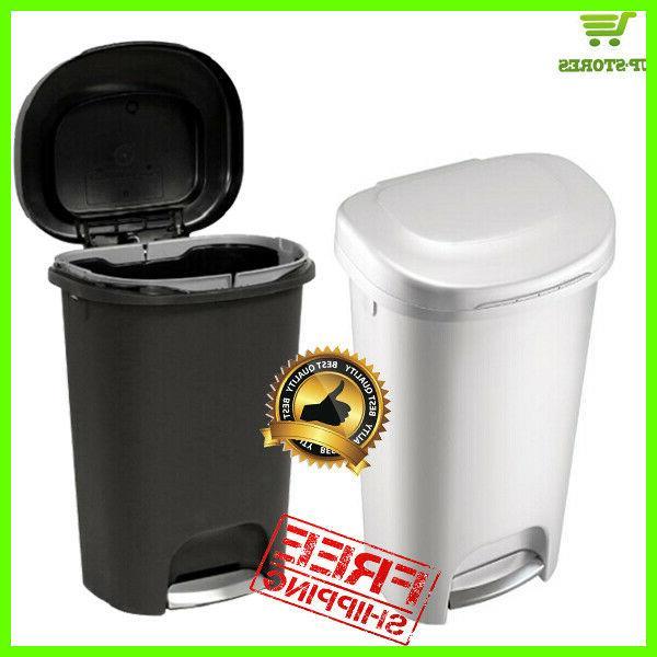 Step-On Waste Basket Plastic Trash Can 13 Gal