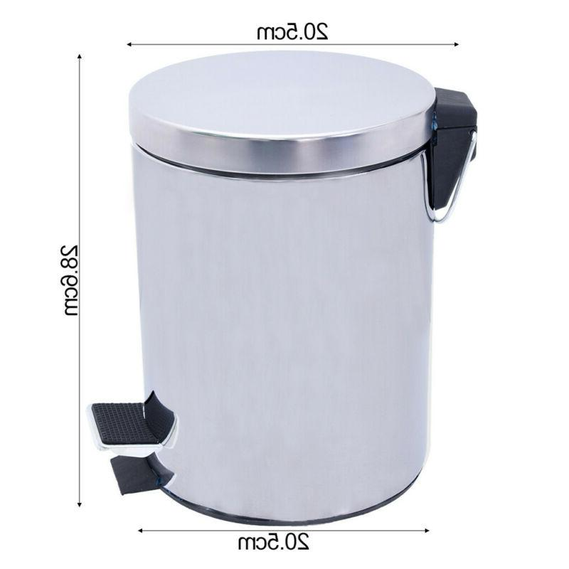 Step Stainless Steel Pedal Trash Kitchen Waste Bin 5L
