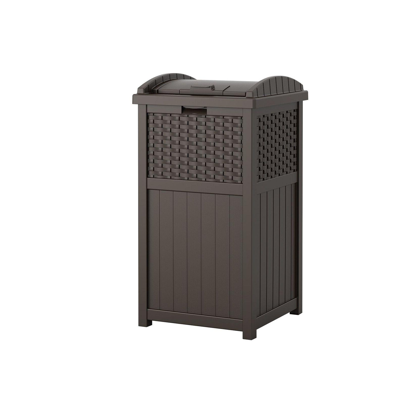 storage containers garbage wastebasket hideaway outdoor shed