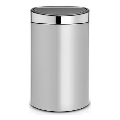 touch bin garbage can metallic grey lid