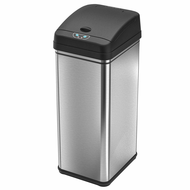 Touchless Free Trash Kitchen Garbage Metal 13 Gallon
