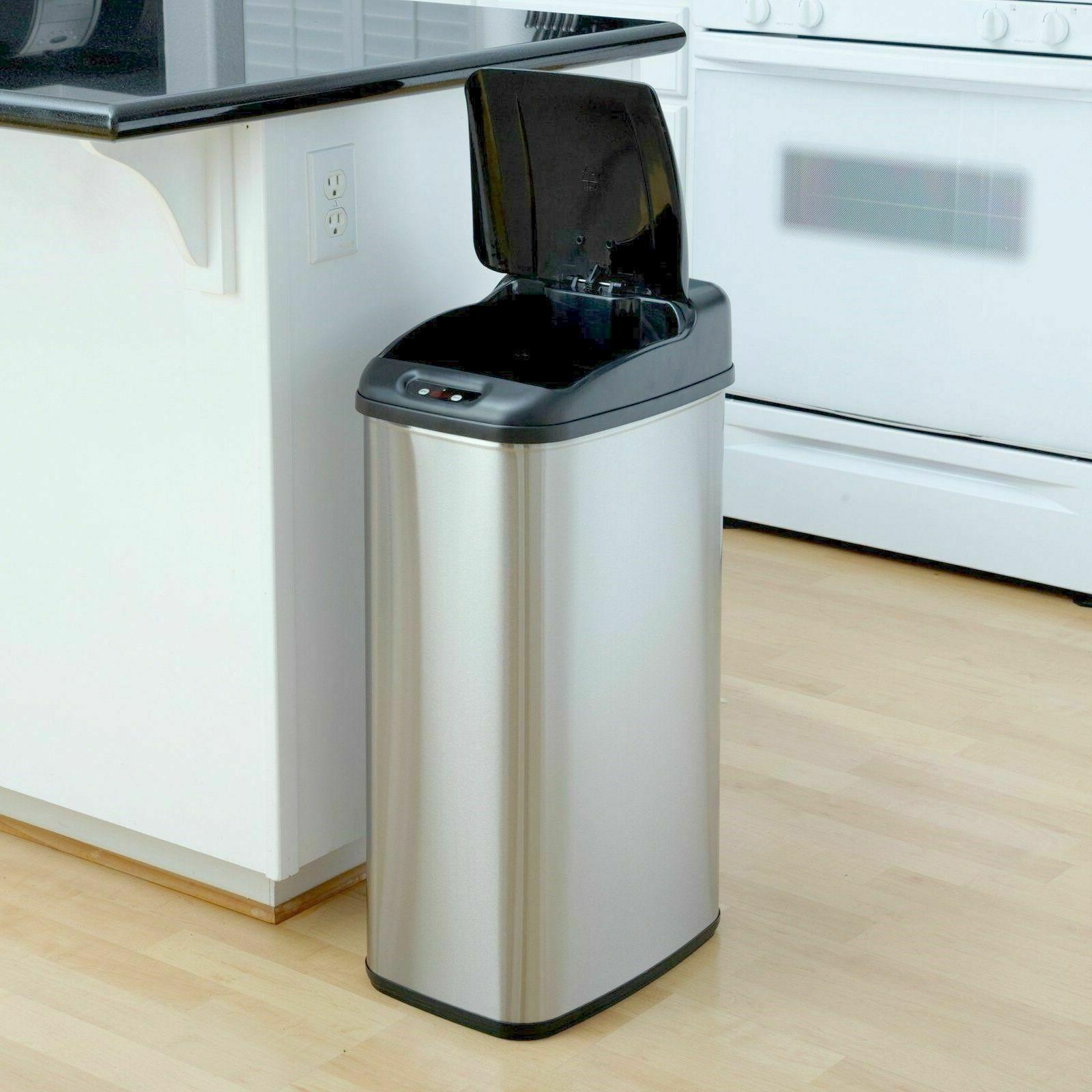 touchless hands free sensor trash can kitchen