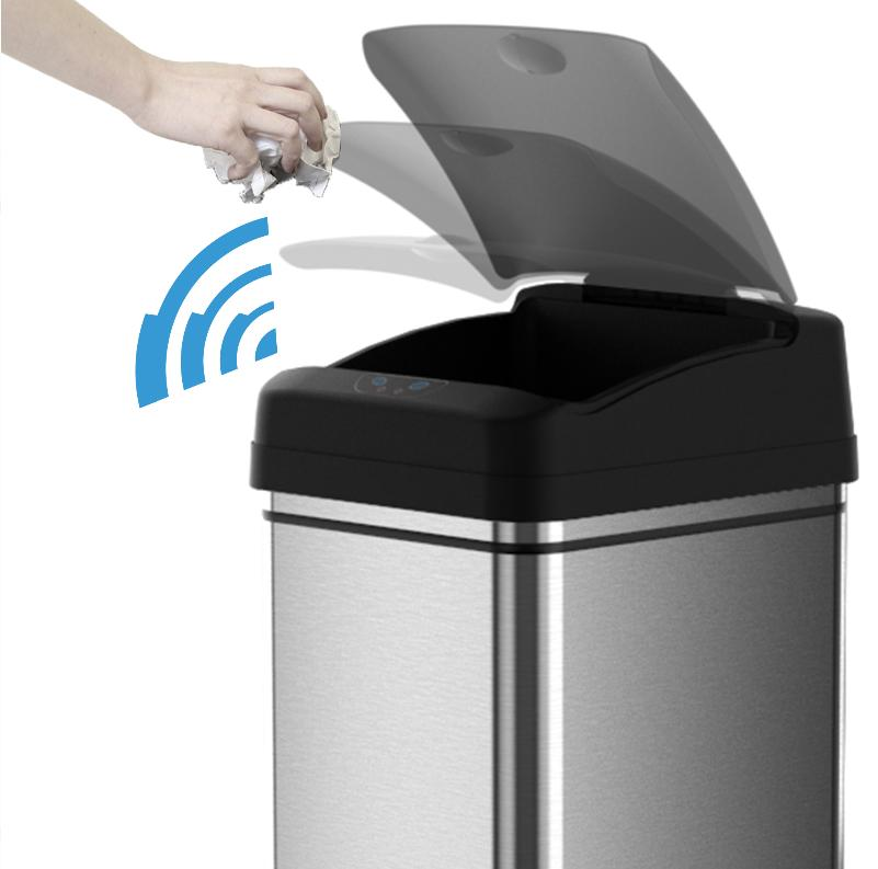 Touchless Can Bin Garbage Black 13