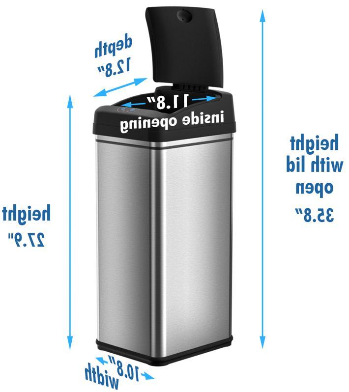 Touchless Sensor Trash Can Bin Black Slim Gallon