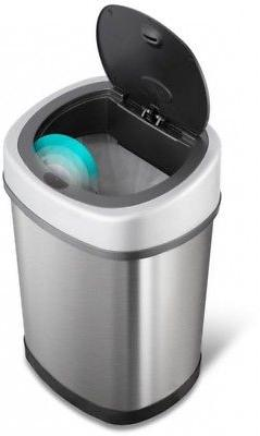 NINESTARS Touchless Trash Can Garbage Waste Bin Stainless St