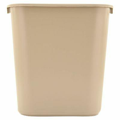 trash can 7 gal plastic beige garbage