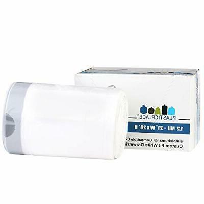 Plasticplace 50Pcs Liter White Garbage Liners 38-40L