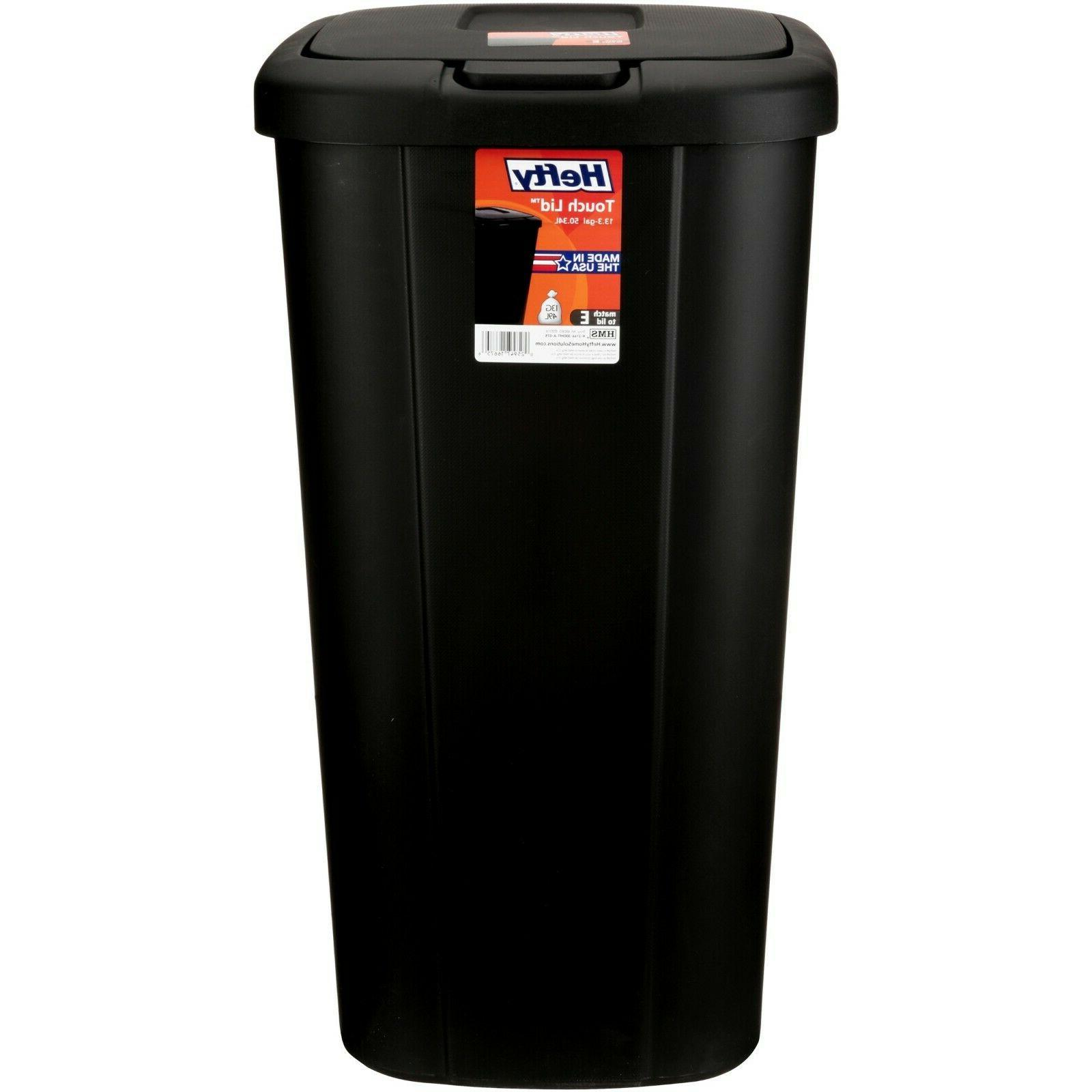 Hefty Trash Can Garbage 13 Gallon Bin Touch Lid Spring Tall Slim N