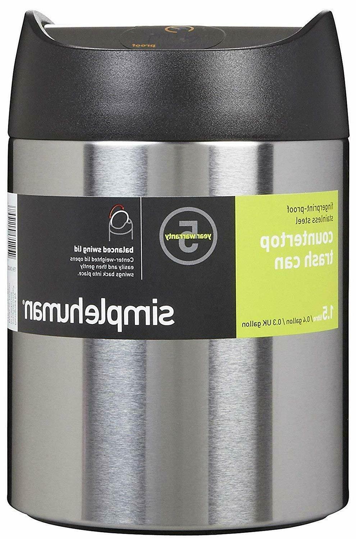 Trash Bag Dustbin Recycle Bin Stainless 1.5L/0.4Gal