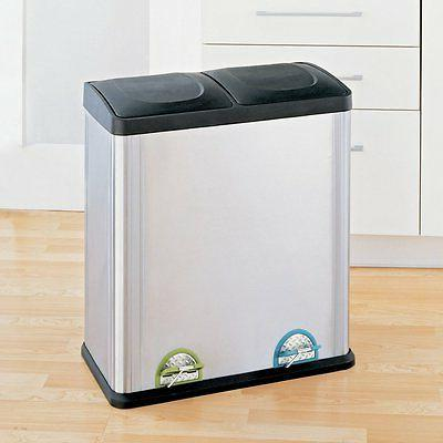 Trash Can Recycle Bin Combo With Lid Stainless